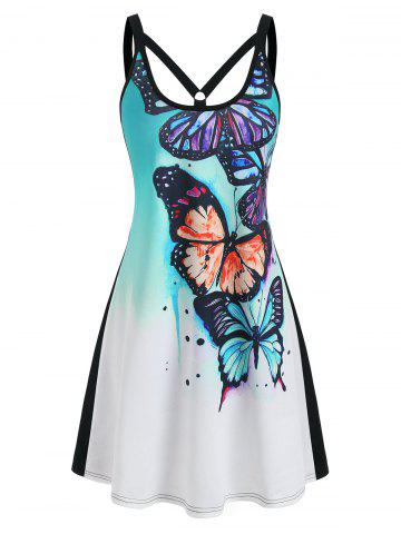 Dip Dye Butterfly Print Sleeveless Dress