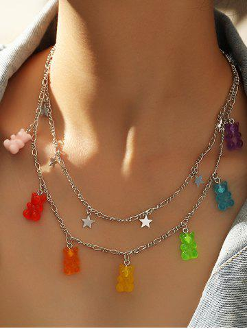 Resin Bear Star Charm Layered Necklace