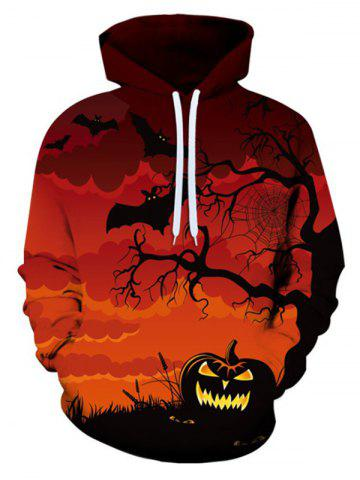 Halloween Bat Pumpkin Pattern Front Pocket Casual Hoodie - CHESTNUT RED - M
