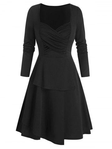 Ruched Front Layered Mini Dress
