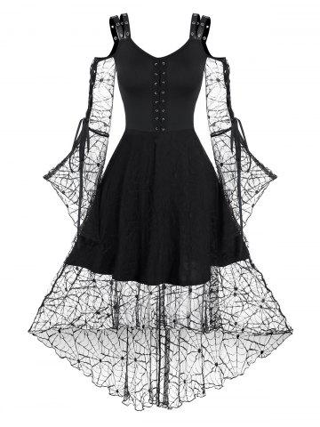 Spider Web Lace Lace-up High Low Gothic Dress - BLACK - 3XL