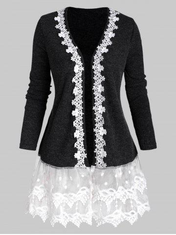 Open Front Ribbed Lace Mesh Panel Plus Size Cardigan - GRAY - 2X