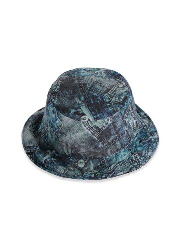 Retro Printed Denim Pattern Bucket Hat