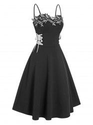 Applique Lace Up A Line Dress -