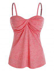 Spaghetti Strap Front Twist Heathered Tank Top -