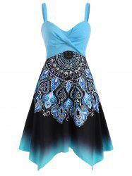 Twisted Floral Baroque Print Handkerchief Dress -