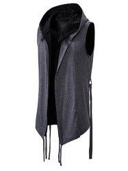 Belted 2 in 1 Open Front Gothic Hooded Vest -