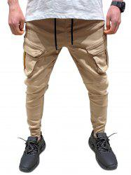 Plain Flap Pockets Pencil Cargo Pants -