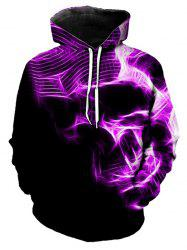 Abstract Skull Graphic Front Pocket Pullover Hoodie -