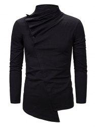 Pleated Button High Neck Asymmetrical Gothic T Shirt -