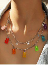 Resin Bear Star Charm Layered Necklace -