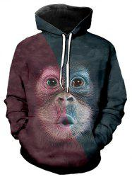 Contrast Color Animal Graphic Front Pocket Casual Hoodie -