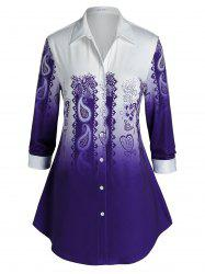 Plus Size Paisley Ombre Curved Hem Tunic Shirt -
