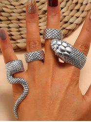 4Pcs Punk Exaggerated Carved Snake Ring Suit -