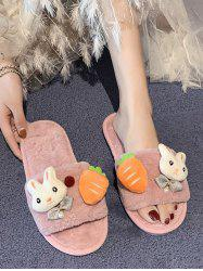 Rabbit Carrot Plush Open Toe Flat Slippers -