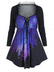 Plus Size Galaxy Lace Frilled Tie Tunic Tee -