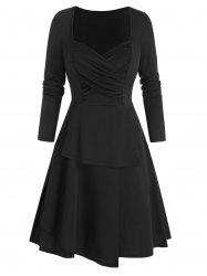 Ruched Front Layered Mini Dress -