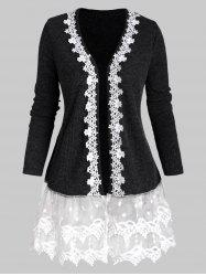Open Front Ribbed Lace Mesh Panel Plus Size Cardigan -