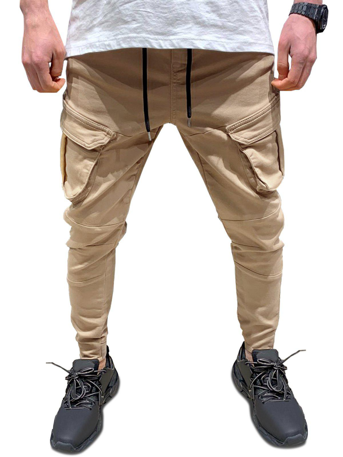 New Plain Flap Pockets Pencil Cargo Pants