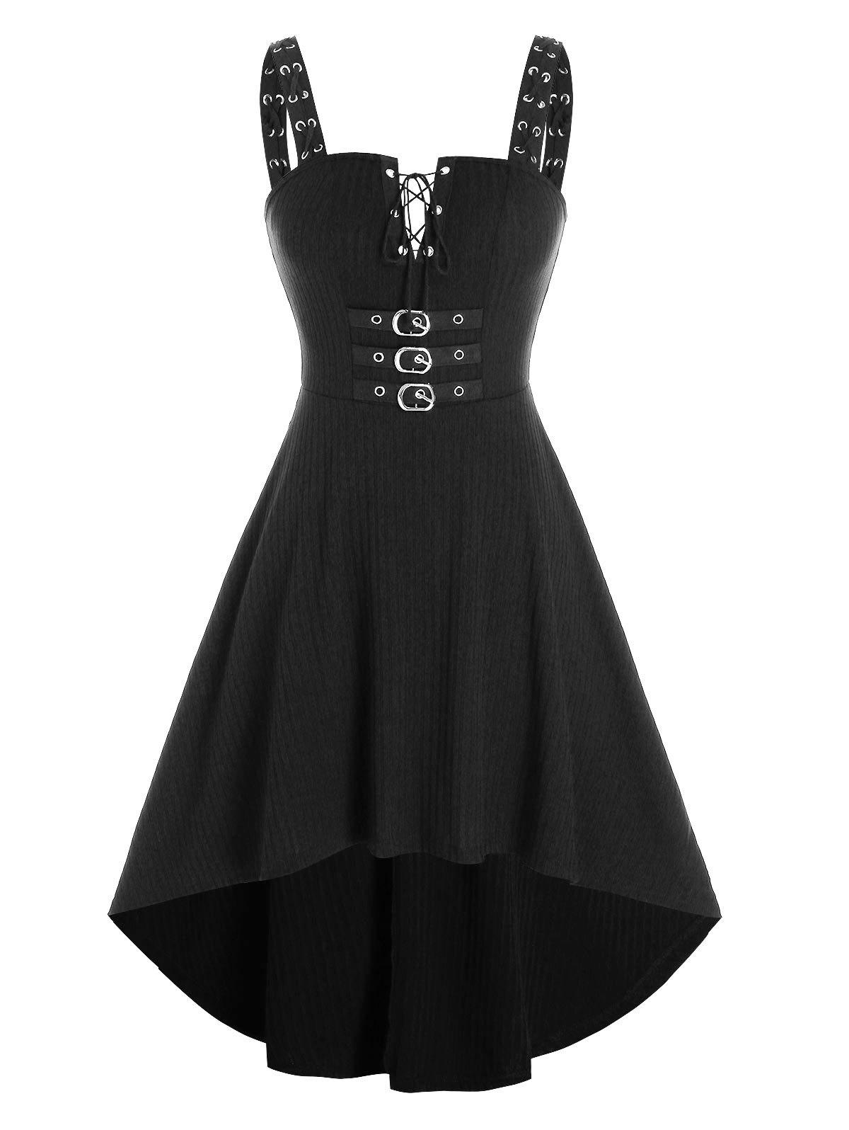 Shop Lace Up Buckled Knitted Cami High Low Dress