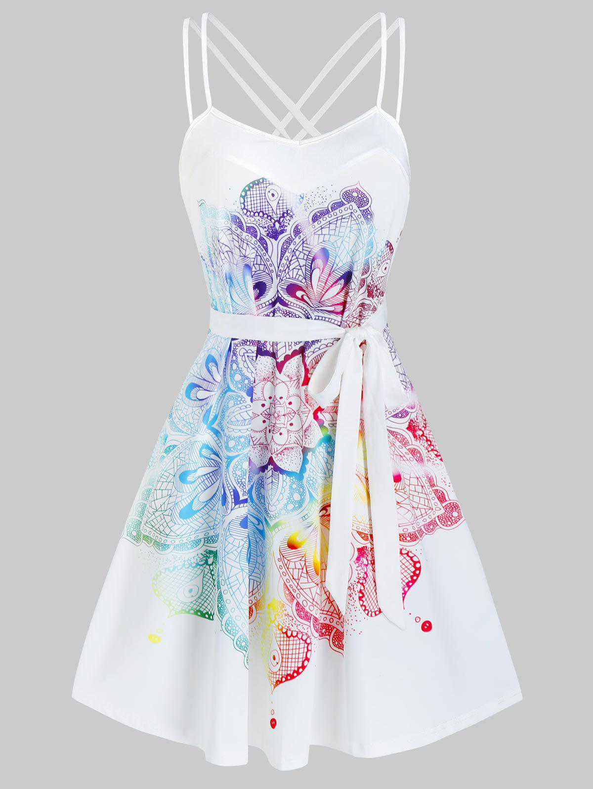 Buy Dream Catcher Bohemian Print Sleeveless Belted Dress