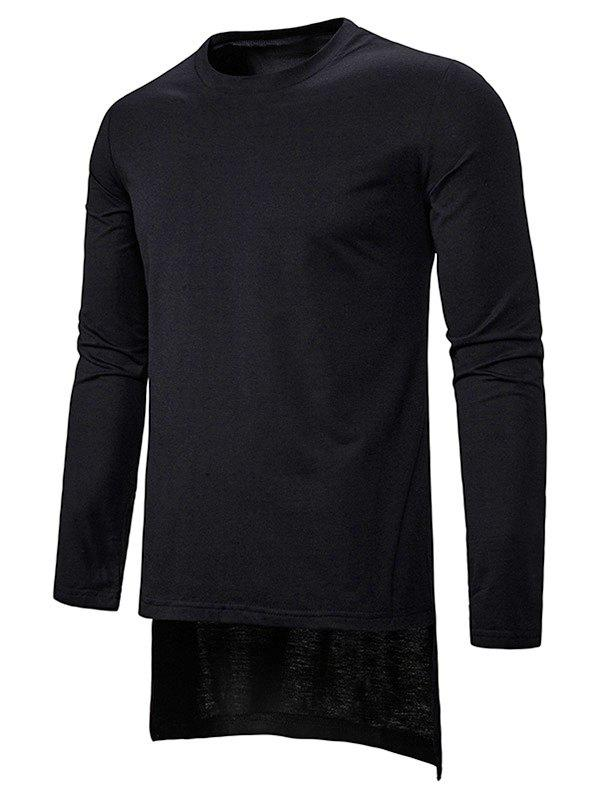 T-shirt Long Haut Bas Simple à Col Rond Noir L