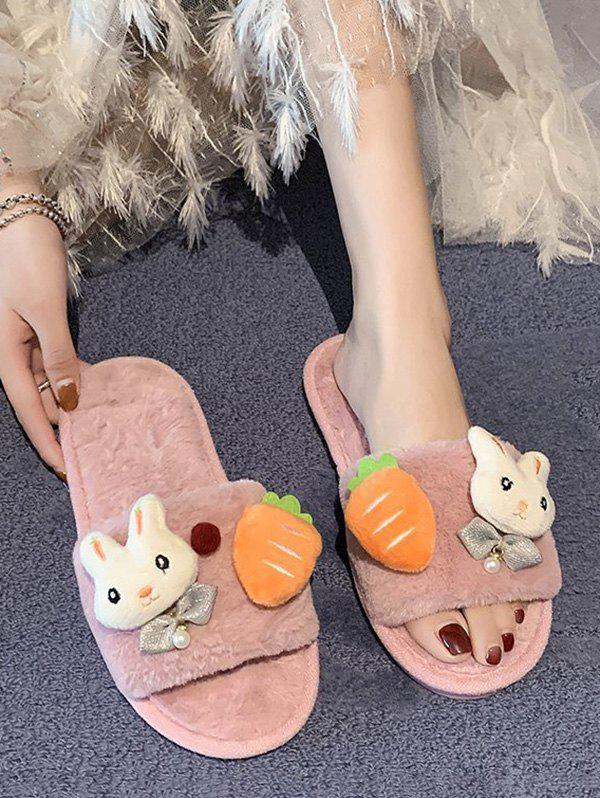 Fancy Rabbit Carrot Plush Open Toe Flat Slippers