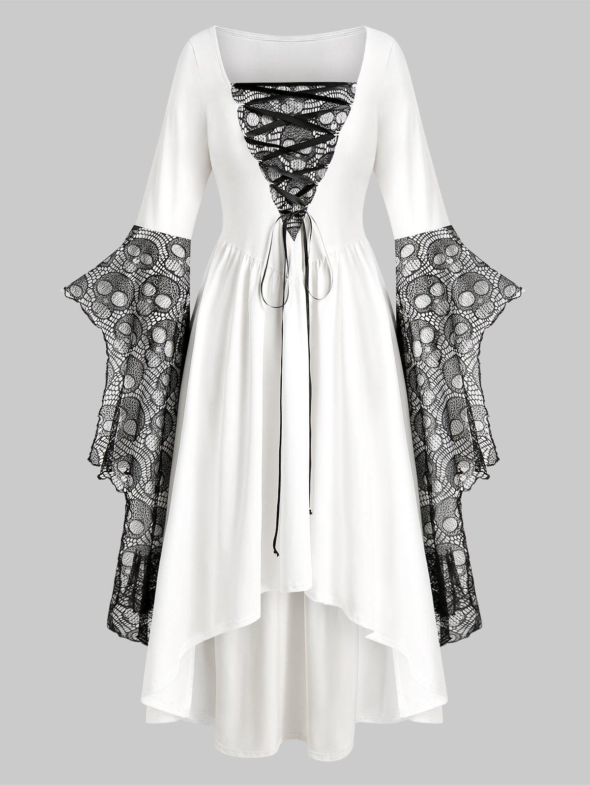 Sale Plus Size Halloween Skull Lace Bell Sleeve Maxi Party Dress