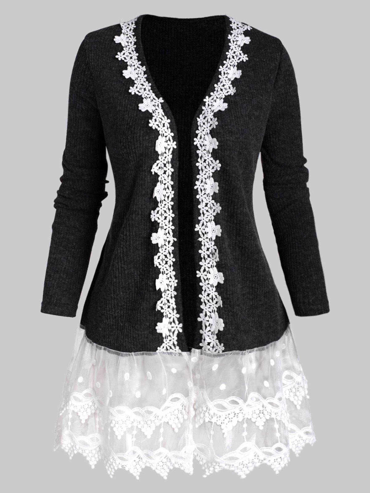 Fancy Open Front Ribbed Lace Mesh Panel Plus Size Cardigan