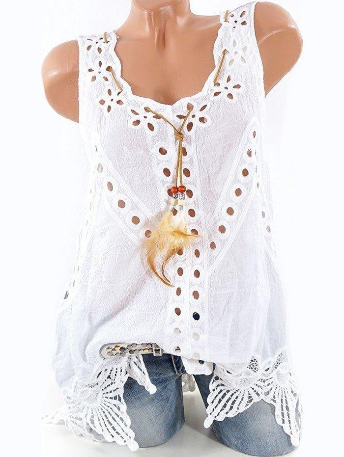 Eyelet Crochet Insert Feather Embellished Tank Top фото