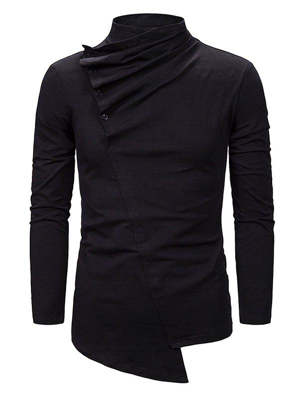 Buy Pleated Button High Neck Asymmetrical Gothic T Shirt