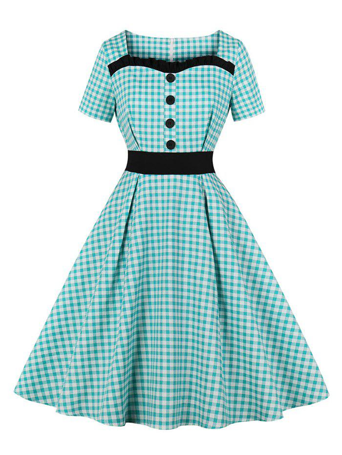 Cheap Frilled Buttoned Gingham Vintage Dress