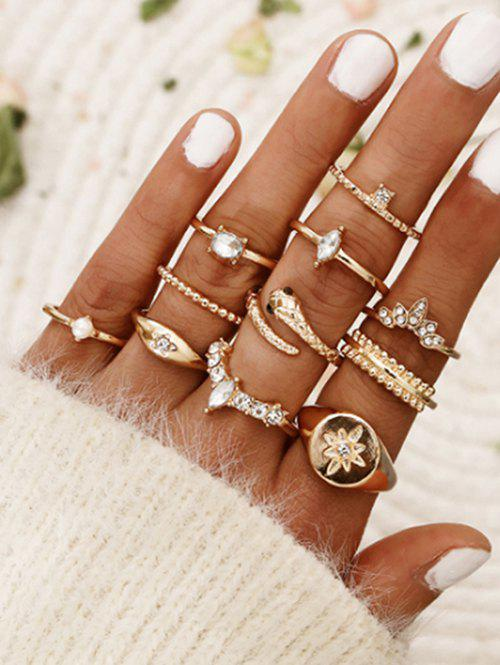 11 Pcs Bohemian Snake Star Carved Ring Set фото