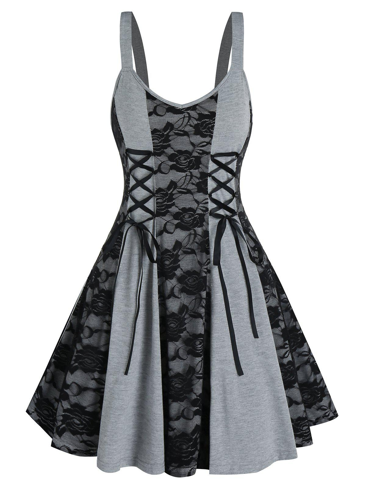 Outfits Lace Up Floral Lace Mini Cami Dress