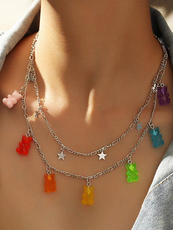 Buy Resin Bear Star Charm Layered Necklace