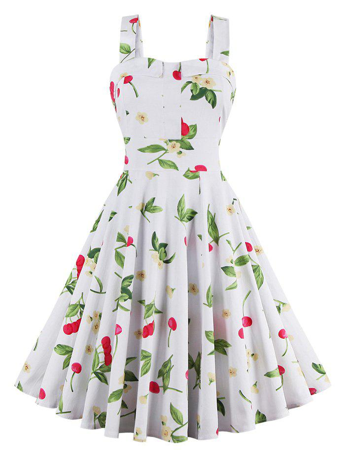 Online Cherry Print Waist Tie Sleeveless Dress