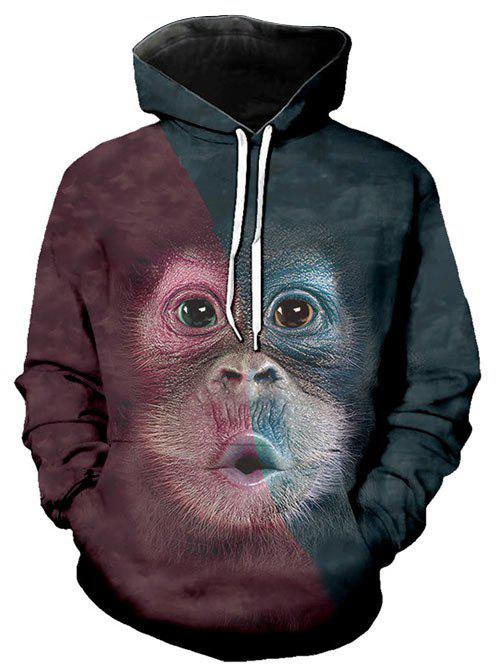 Unique Contrast Color Animal Graphic Front Pocket Casual Hoodie