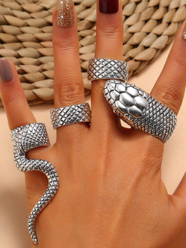 Unique 4Pcs Punk Exaggerated Carved Snake Ring Suit