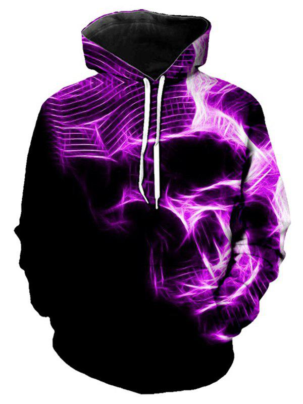 Chic Abstract Skull Graphic Front Pocket Pullover Hoodie