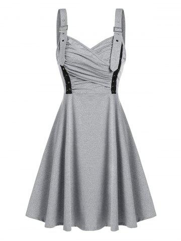 Buckle Strap Lace Up Fit And Flare Dress
