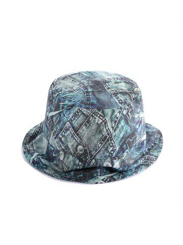 Washed Denim Printed Bucket Hat