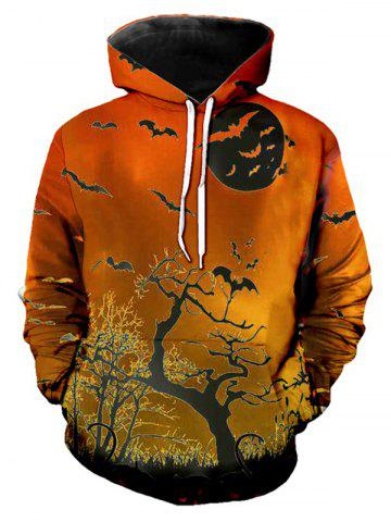 Halloween Bat Tree Print Front Pocket Casual Hoodie - DARK ORANGE - XS