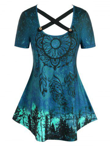 Plus Size Dreamcatcher Pattern Crisscross Curved Tunic Tee - BLUE IVY - L