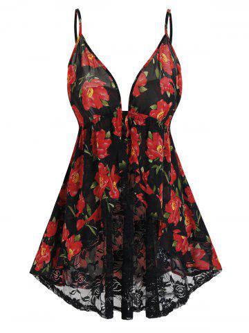 Plus Size Sheer Lace Floral Print Babydoll Set - BLACK - 4X
