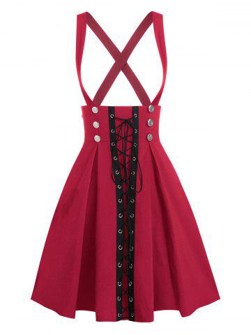 Lace Up Button Overall A Line Skirt - RED - M