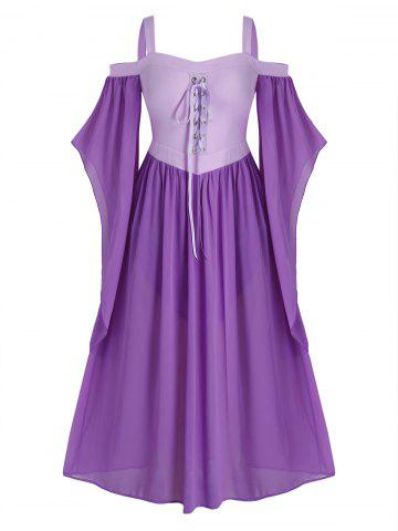 Plus Size Butterfly Sleeve Lace Up Gothic Halloween Dress - PURPLE - L