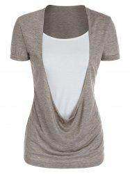 Draped Heathered Faux Twinset T-shirt -
