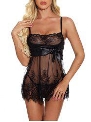 Lace Sheer Bowknot Backless Lingerie Babydoll -
