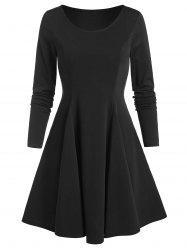 Long Sleeve Fit and Flare Plain Dress -