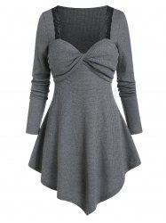 Front Twist Lace Trim Asymmetrical Knitted T Shirt -